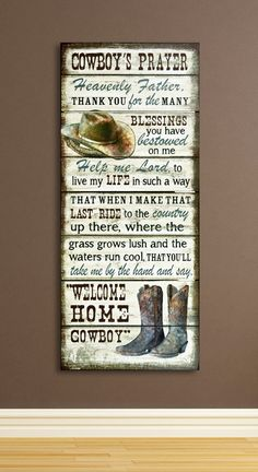 Cowboy Prayer Wooden Wall Sign