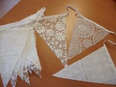 Use lace to make a banner Diy Wedding, Dream Wedding, Wedding Day, Wedding Bunting, Fabric Bunting, Buntings, Hair Images, Maid Of Honor, Marie