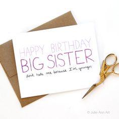 Big Sister Birthday Card Birthday Card For Older by JulieAnnArt
