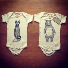 Lovely hand screen printed Baby Grows/Body Suits. Made from Organic and fair trade cotton. Bear and Fox designs available. by RachelGaleDraws on Etsy https://www.etsy.com/listing/187026855/lovely-hand-screen-printed-baby