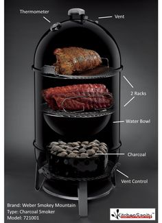 Weber 721001 Smokey Mountain Cooker Charcoal Smoker, Black Want authentic smoke house flavor? The Weber Smokey Mountain Cooker Smoker Inch is the Smoker Weber, Weber Bbq, Smoked Meat Recipes, Smoker Recipes, Weber Smokey Mountain Cooker, Best Smoker, Charcoal Smoker, Boucherouite, Smoker Cooking
