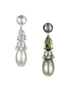 18k white gold, white & green natural pearl, green & colorless diamond earrings // bogh-art