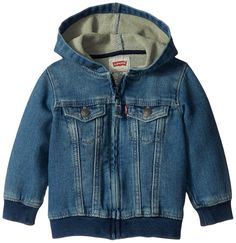 Levi's Baby Zip Up Hoodie: Cute Baby Clothes. Cotton, Polyester, Elastane Imported Zipper closure Machine Wash Soft Knit Dabric Rib hem and cuff Hooded jacket metal zipper pull Metal logo snaps at pocket flaps. Boys Hoodies, Sweatshirts, Baby Girl Jackets, Fleece Lined Hoodie, Thing 1, Pull On Pants, Cute Baby Clothes, Online Shopping Stores, Boy Outfits