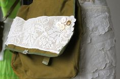 Upcycled Messenger Bag for Macbook and/or iPad by Glitterfarm, $42.00