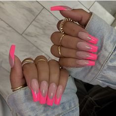 Cosmopolitan UK's edit of the best pink nails, from acrylics to gels, baby to neon, long to short. From baby, to neon. Frensh Nails, Pink Tip Nails, Summer Acrylic Nails, Neon Nails, Best Acrylic Nails, Swag Nails, Manicure, Nail Polishes, Baby Pink Nails Acrylic