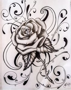 by JCecalaIV on DeviantArt Every Rose has its. by JCecalaIV Rose Drawing Tattoo, Tattoo Design Drawings, Cool Art Drawings, Pencil Art Drawings, Flower Tattoo Designs, Art Drawings Sketches, Chicano Drawings, Chicano Art, Tattoo Coloring Book