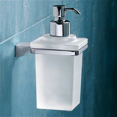 Soap Dispenser, Gedy 5781-13, Wall Mounted Square Frosted Glass Soap Dispenser With Chrome Mounting 5781-13