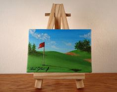 Pintura original, Mini lienzo arte Arte paisaje Mini, Mini Golf pintura, arte de Golf, campo de golf pintura, pintura, Mini obras de arte de la lona