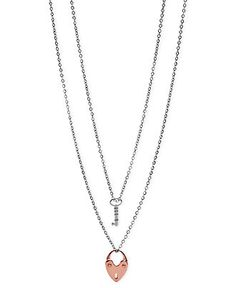 Fossil Necklace, Multi-Tone Double-Chain Heart and Key Pendant - Fashion Necklaces - Jewelry & Watches - Macy's