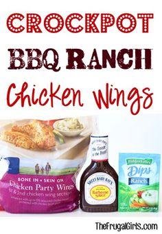 Crockpot BBQ Ranch Chicken Wings Recipe from TheFrugalGirls.com