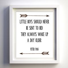 Little Boys Should Never Be Sent To Bed, Baby Boy Print, Boy Room Artwork, Tribal, Boy Nursery Quote, Peter Pan Print, Tribal Nursery Art by boutiqueprintart on Etsy
