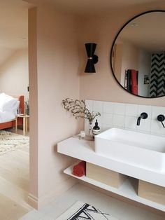 Inside Her Home: Loft Bathroom design featuring plaster-pink walls and black fixings – attic Attic Wardrobe, Attic Closet, Garage Attic, Attic Office, Attic Spaces, Attic Rooms, Attic Playroom, Playroom Ideas, Attic Renovation