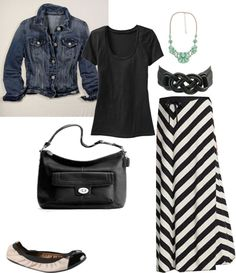 denim jacket + chevron striped maxi skirt + pop of seafoam green from necklace.... Have a chambray shirt that I'll wear. Nice!