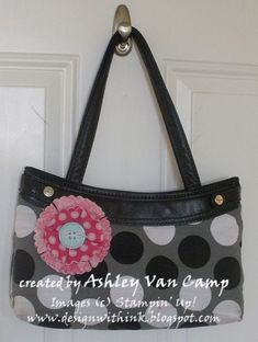 Fabric flower for 31purse using Stampin  Up! dies and Big Shot.   31pursesandtotes 41cf796043629