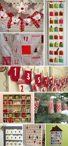My mother-in-law made the top red and white advent countdown, but she added little tags that dangle off the buttons.  The tags have different names that Jesus Christ is referred to in the scriptures, as well as the scripture reference to read each day.  Very cute!