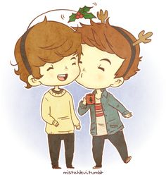 Merry early Larry x-mas! One Direction Cartoons, One Direction Art, Larry Stylinson, Louis Tomlinson, Chibi, Larry Shippers, Under The Mistletoe, Great Love Stories, Louis And Harry