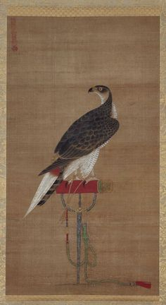 PAINTING: Goshawk Standing on a Perch, Joseon dynasty, century, Attributed to Yi Am.) LINK to the Museum of Fine Arts, Boston which houses a large collection of Korean Art. Korean Painting, Chinese Painting, Chinese Art, Art Japonais, Korean Art, Exhibition, Japan Art, Knights Templar, Vintage Labels