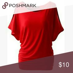 Red NWT cotton Tshirt with split sleeve Round neck with bat sleeve casual T shirt xxl fits like a xl wish Tops Tees - Short Sleeve