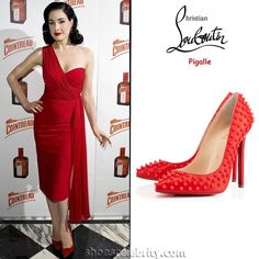 Dita Von Teese Christian Louboutin Pigalle Studded Pumps
