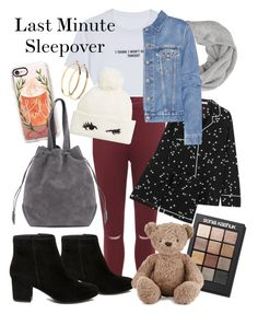 """""""Last Minute Sleepover"""" by sweet-humbug ❤ liked on Polyvore featuring WithChic, John Lewis, WearAll, Steve Madden, Kate Spade, Casetify, Sonia Kashuk, Pieces, Equipment and Acne Studios"""