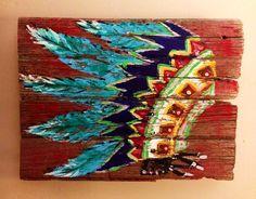 Barnwood Art Painting  Colorful  Indian Headdress by WesternSunset