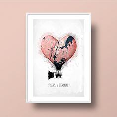 """affiche art, idée cadeau futur voyage, coeur """"Viens, je t'emmène"""" : Affiches, illustrations, posters par ili"""