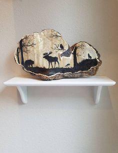 Trendy Nature Paintings On Canvas Forests Artists Ideas Mushroom Crafts, Mushroom Art, Wood Burning Crafts, Wood Burning Art, Stone Painting, Painting On Wood, Wolf Silhouette, Forest Art, Hand Painted Ornaments