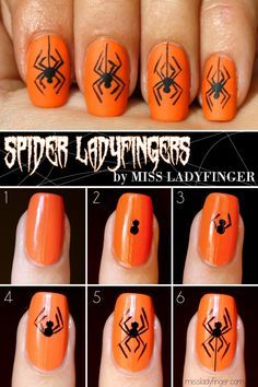 These creepy spiders include a how to!  Just one of ten awesome Halloween nail art ideas!