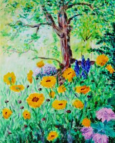 My Garden (coreopsis sunfire and other flowers), acrylic painting by Bridget Henning (ArtHenning) Flower Landscape, Pastel Pencils, Digital Photography, Acrylics, Painting & Drawing, Modern Art, Colours, Abstract, Drawings