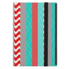 Bright Neon Red and Teal Geo Stripes iPad Mini Cases