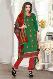 Green Chanderi Salwar Kameez with Embroidered and Lace Work