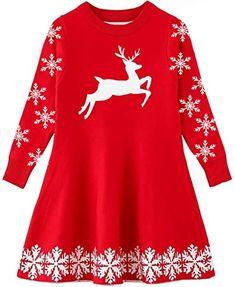 Beautiful Funnycokid Little Girls Christmas Dress Xmas Gifts Knitted Sweater Dresses 2-9T reindeer christmas jumper. ($21.99) alltoenjoyshopping from top store