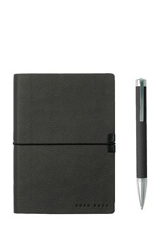 BOSS - A6 notebook and ballpoint pen gift set in dark-grey faux leather Professional Gifts, Writing Instruments, Ballpoint Pen, Leather Fashion, School Supplies, Dark Grey, Boss, Notebook, Notebooks