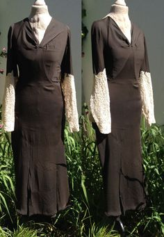 Elegant vintage French 1930s bias cut black dress with cream lace Small Medium