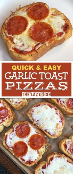 Quick & Easy Mini Garlic Toast Pizzas – The Lazy Dish Looking for quick and easy dinner recipes for the family? These mini garlic toast pizzas are perfect for busy week nights! Just 3 ingredients, and so simple the kids can make it. The Lazy Dish Toast Pizza, Bread Pizza, Pizza Pizza, Pizza Cheese, Cheese Bread, Family Meals, Kids Meals, 3 Ingredient Dinners, Easy Cupcake Recipes