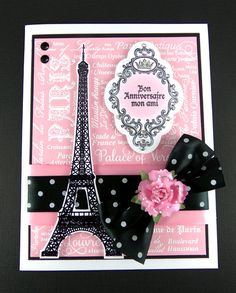 Paris themed card designed by Sheri Holt using Bon Voyage and Paris Background Stamp