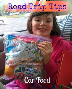 Road Trip Tips - Car Food.  Individual snack bags make for easy eating while you travel! #roadtrips #travel #familyfun