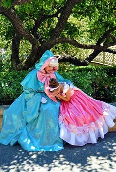 Cinderella and Her Fairy Godmother. This is an awesome picture because you NEVER see Cinderella wear this dress!