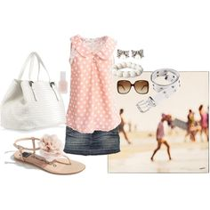 Casual in pink & denim! great outfit. love white bags for summer too, just not this one, needs to be slouchier ;)