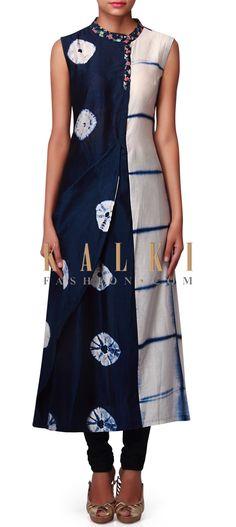 Cream and blue kurti with floral printed collar only on Kalki Salwar Pattern, Kurti Patterns, Dress Patterns, India Fashion, Ethnic Fashion, Shibori, Ladies Suits Indian, Churidar Designs, Fancy Tops