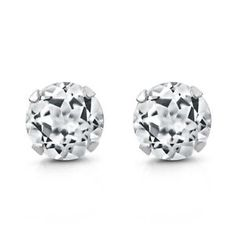 1.20 Ct Round White Topaz 925 Silver Stud Earrings