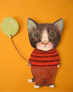 This is a cut out [ heavy cardboard ]paper doll.It's Sandy's illustration of a little black and  cat , Gordon . He holds a green balloon.. Sandy Mastroni ....#etsy