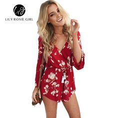 291f5806cb5 2016 Summer Style Boho Floral Print Drak Red Sexy V Neck Women Playsuits  Romper Overall Long
