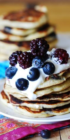 Greek yogurt blueberry pancakes.  So flavorful on their own - they do not need a ton of Maple syrup to taste right!