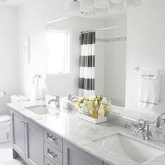 Bianco Statuario Marble, Contemporary, bathroom, Benjamin Moore Pigeon Gray, AM Dolce Vita