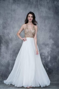 Nina Canacci 2170 gold embellished top flowy a line chiffon dress in Ivory or Navy Cheap Prom Dresses, Formal Dresses, Wedding Dresses, Sophisticated Dress, Embellished Top, Chiffon Dress, Bodice, Gowns, Style