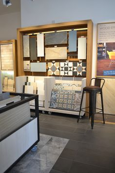 Boutique tile showroom for national retailer with bespoke tile display units designed in house by je+1. #tiledisplay #retaildesign #retaildisplay #patternedtiles