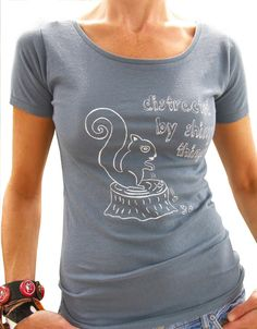 Squirrel w/ Acorns Womens Graphic Tee-Organic Cotton Hand Printed-Ocean Blue. $26.00, via Etsy.