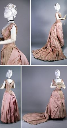 Evening dress with presentation train, United Kingdom, ca. 1880s. Plain and brocaded pink silk faille. Photo: Anne Bissonnette. Univ. of Alberta