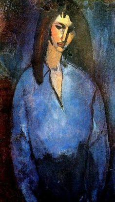 Girl wearing a blue shirt by Amedeo Modigliani. Handmade oil painting reproductions for sale, Always custom made on premium grade canvas by talented artists. Amedeo Modigliani, Modigliani Paintings, Italian Painters, Italian Artist, Oil Painting Reproductions, Art Moderne, Portrait, Figurative Art, Female Art